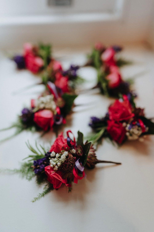 Pin Purple Buttonhole Boutonnière High Barn Wedding Edenhall Bloom Weddings
