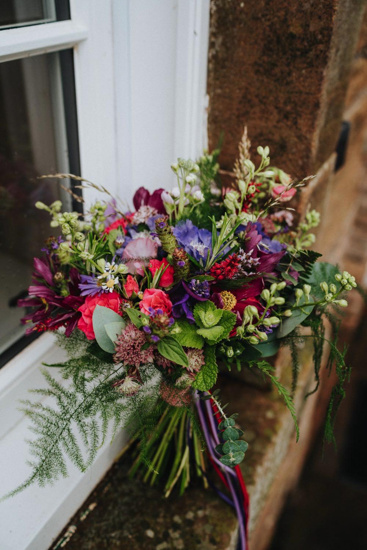 Bride Bridal Bouquet Multicolour Herb Mint Wildflower High Barn Wedding Edenhall Bloom Weddings