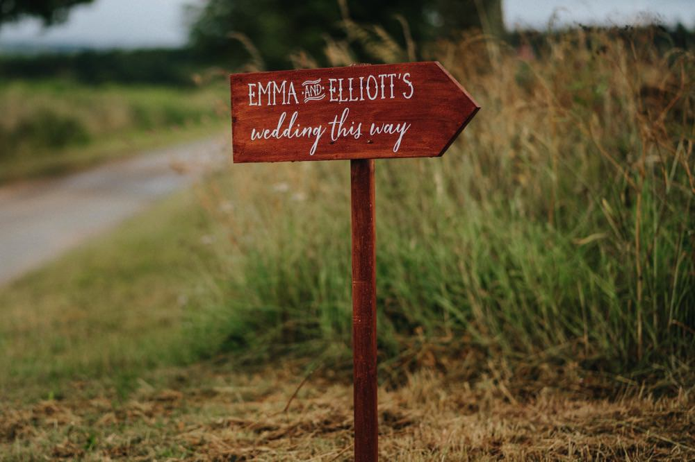 Wooden Sign Direction Signpost High Barn Wedding Edenhall Bloom Weddings