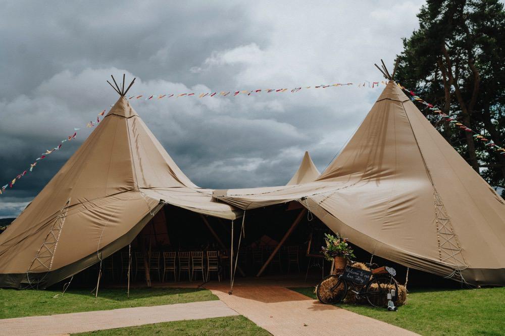 Tipi Bunting Bike Hay Bale Florals High Barn Wedding Edenhall Bloom Weddings