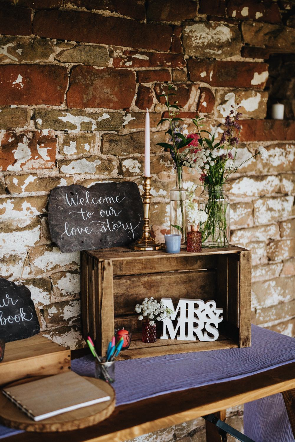 Welcome Sign Chalkboard Wooden Crate Candle Candlestick Florals Mr & Mrs High Barn Wedding Edenhall Bloom Weddings