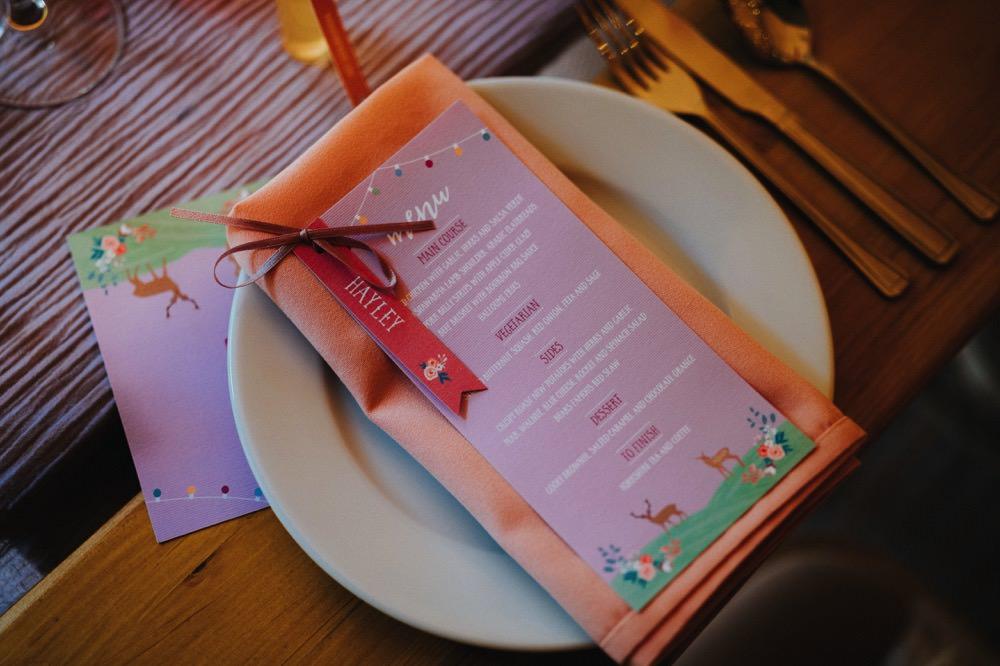 Place Setting Stationery Name Card Napkin Menu High Barn Wedding Edenhall Bloom Weddings