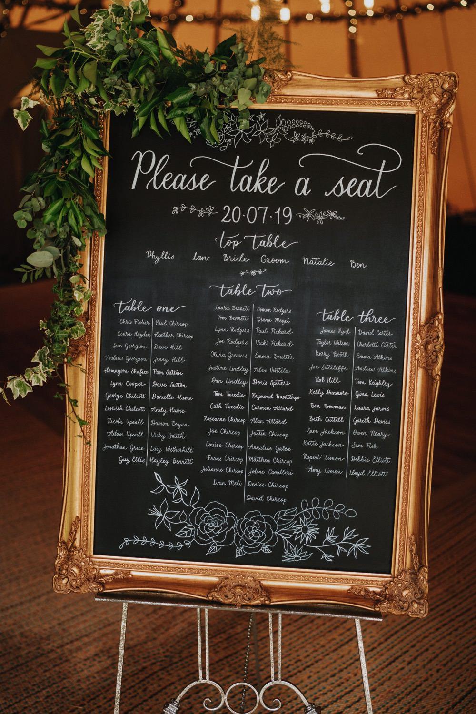 Table Plan Seating Chart Chalkboard Gold Frame Foliage High Barn Wedding Edenhall Bloom Weddings