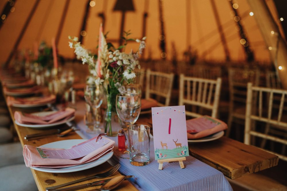 Wooden Table Rustic Place Setting Florals Tipi High Barn Wedding Edenhall Bloom Weddings