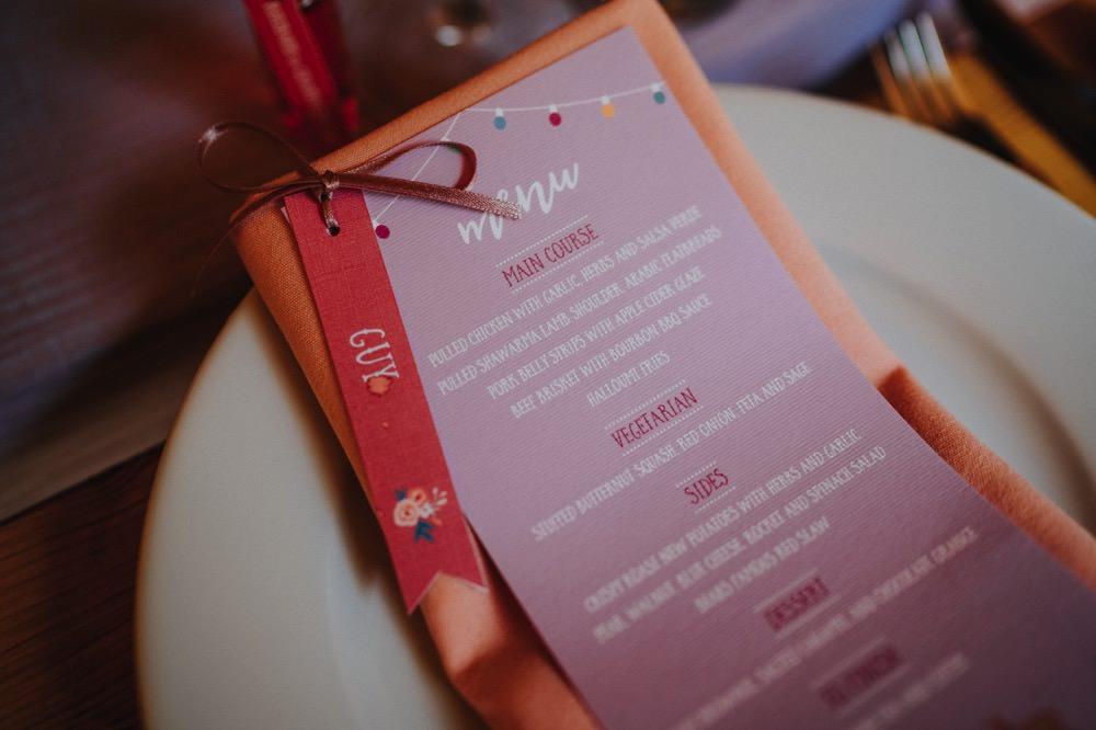 Menu Napkin Stationery Tag Place Name Card High Barn Wedding Edenhall Bloom Weddings