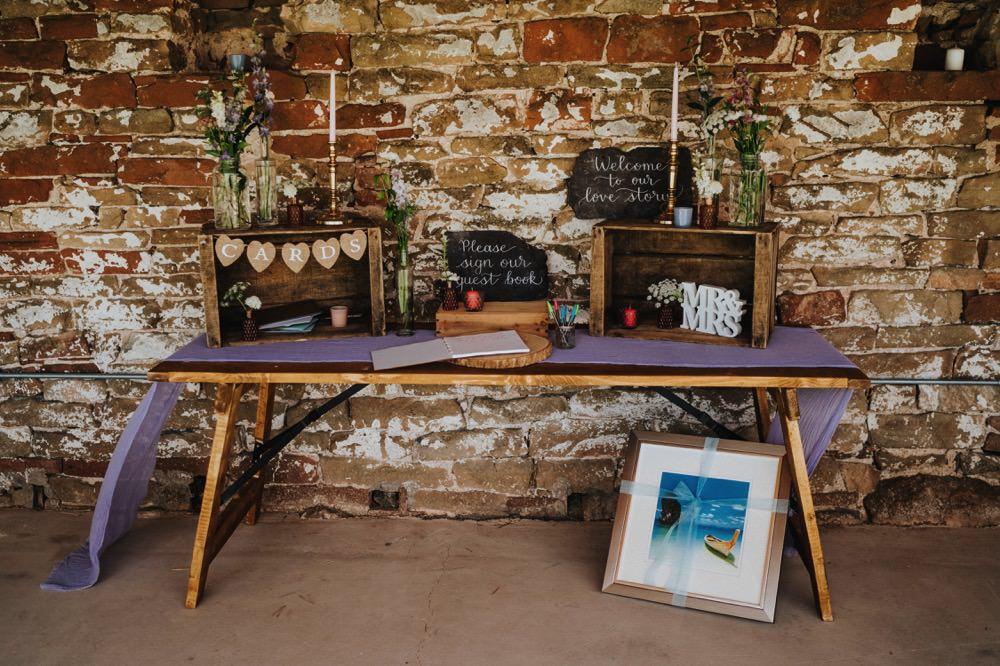 Card Table Mr & Mrs Chalkboard Sign Florals Wooden Crate High Barn Wedding Edenhall Bloom Weddings