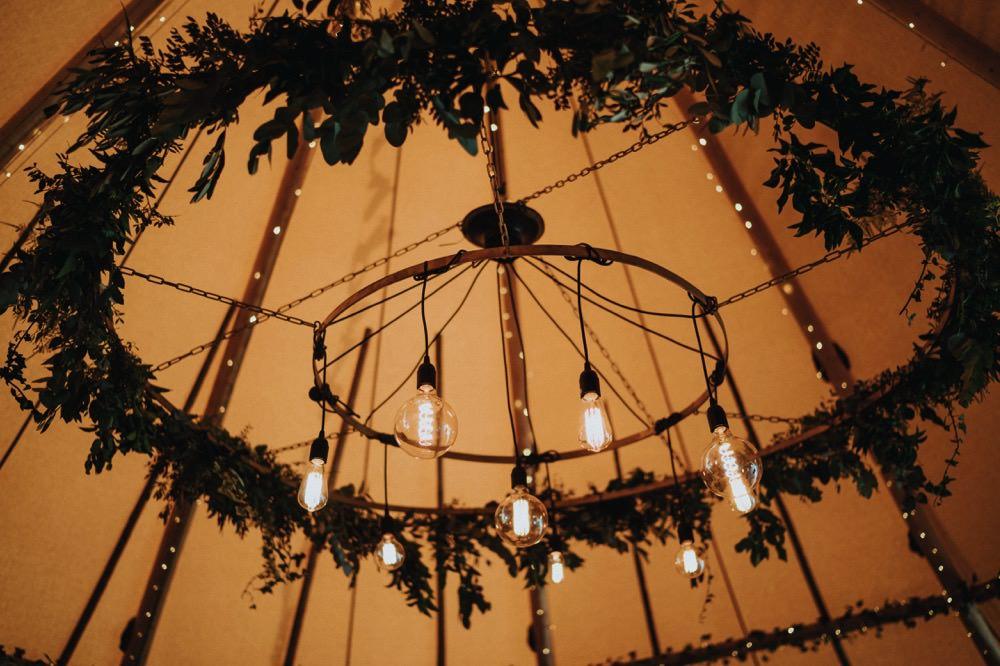 Hanging Foliage Hoop Edison Bulb Installation Chandelier High Barn Wedding Edenhall Bloom Weddings