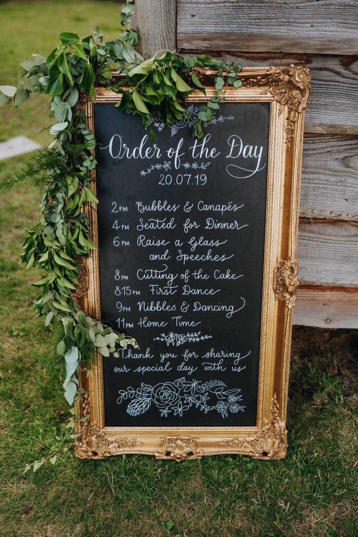 Chalkboard Gold Frame Order of the Day Foliage High Barn Wedding Edenhall Bloom Weddings