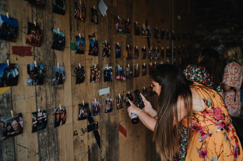 Polaroid Photo Photograph Wall String Peg High Barn Wedding Edenhall Bloom Weddings