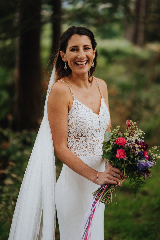 Bride Bridal Enzoani Fishtail Dress Gown Lace V Neck Strappy Veil Bouquet High Barn Wedding Edenhall Bloom Weddings