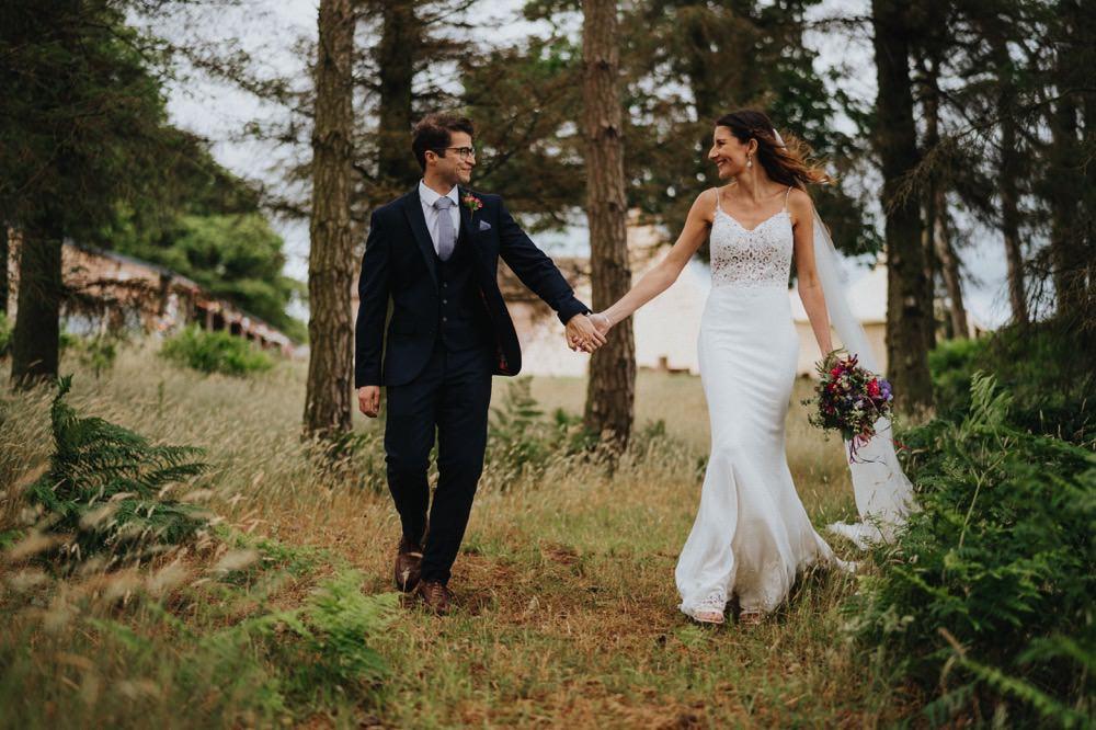 Bride Bridal Enzoani Fishtail Dress Gown Lace V Neck Strappy Waistcoat Groom Veil Bouquet High Barn Wedding Edenhall Bloom Weddings