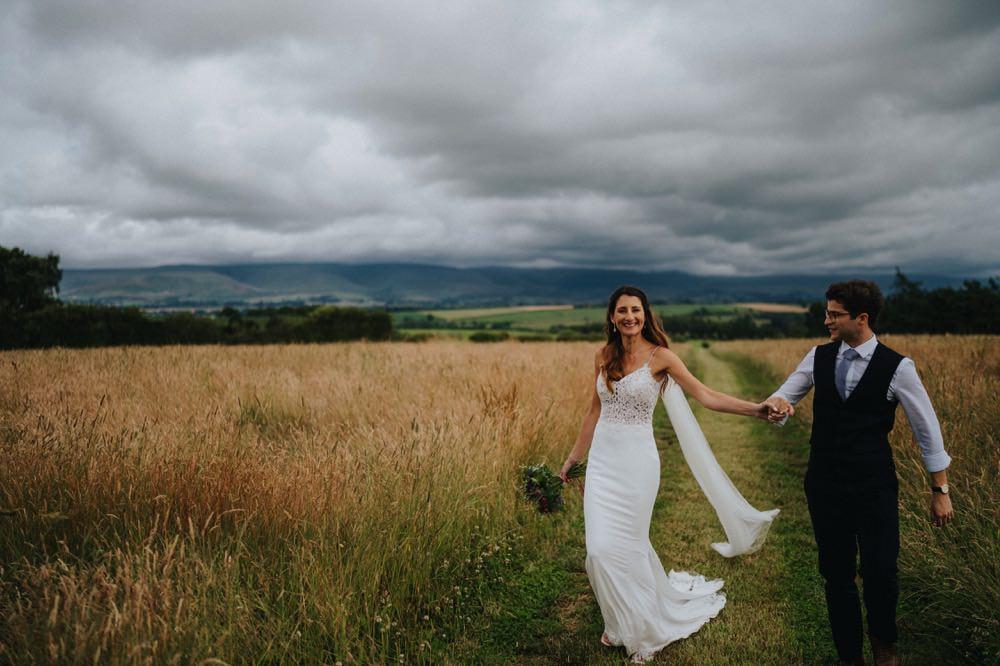 Bride Bridal Enzoani Fishtail Dress Gown Lace V Neck Strappy Waistcoat Groom Veil High Barn Wedding Edenhall Bloom Weddings