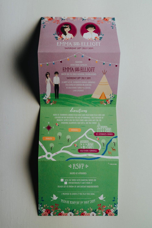Stationery Invitation Fold Out Illustrated High Barn Wedding Edenhall Bloom Weddings