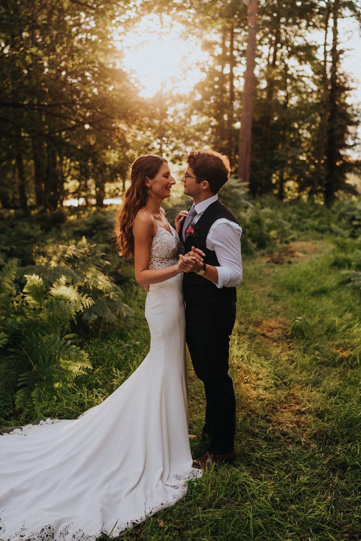 Bride Bridal Enzoani Fishtail Dress Gown Lace V Neck Strappy Waistcoat Groom High Barn Wedding Edenhall Bloom Weddings