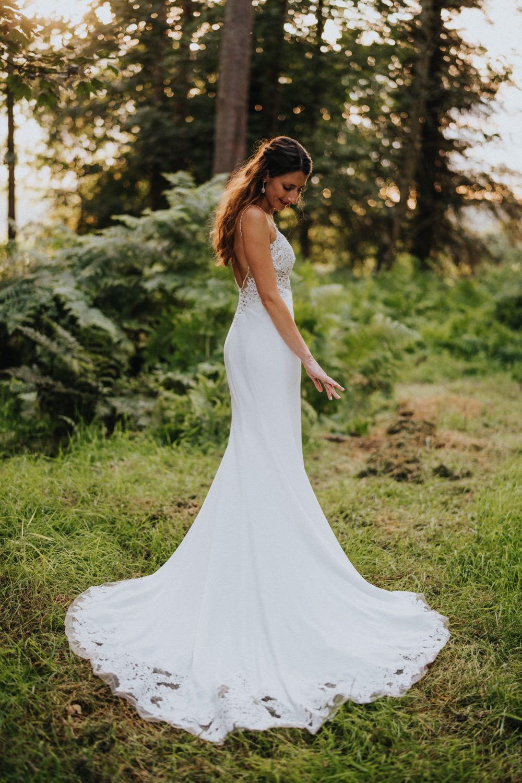 Bride Bridal Enzoani Fishtail Dress Gown Lace V Neck Strappy High Barn Wedding Edenhall Bloom Weddings