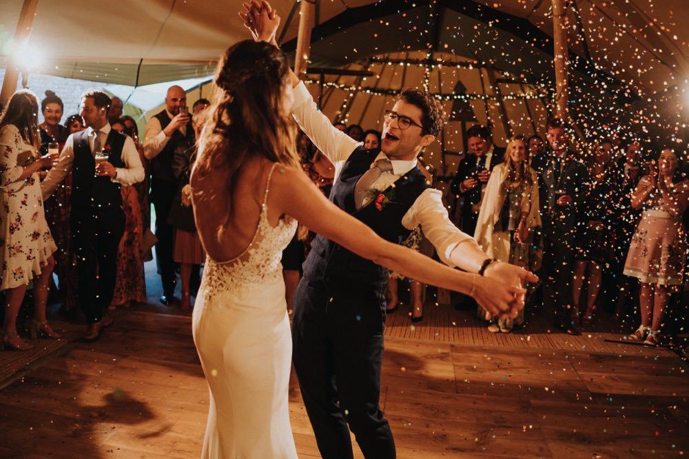 Bride Bridal Enzoani Fishtail Dress Gown Lace V Neck Strappy Waistcoat Groom Tipi First Dance Confetti High Barn Wedding Edenhall Bloom Weddings