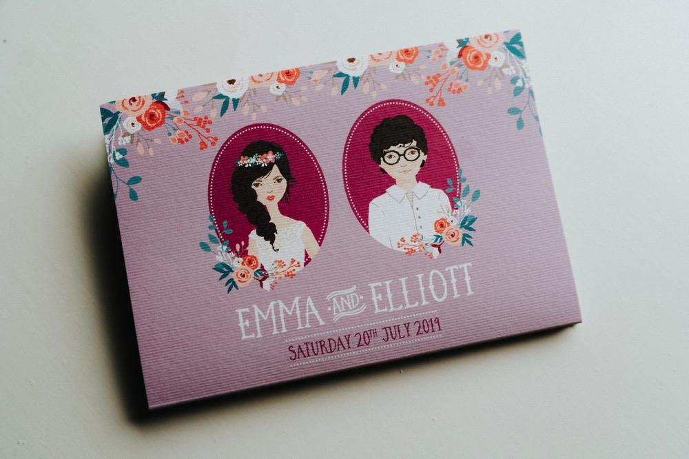 Illustrated Save The Date Stationery High Barn Wedding Edenhall Bloom Weddings