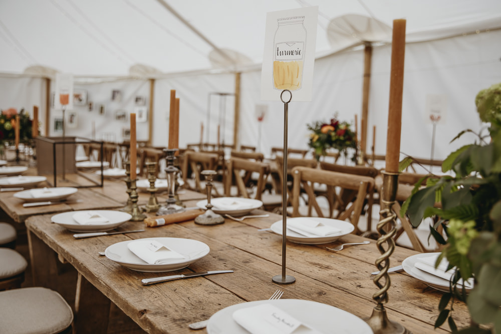 Table Names Jars Kent Marquee Wedding Lily Bungay and Co