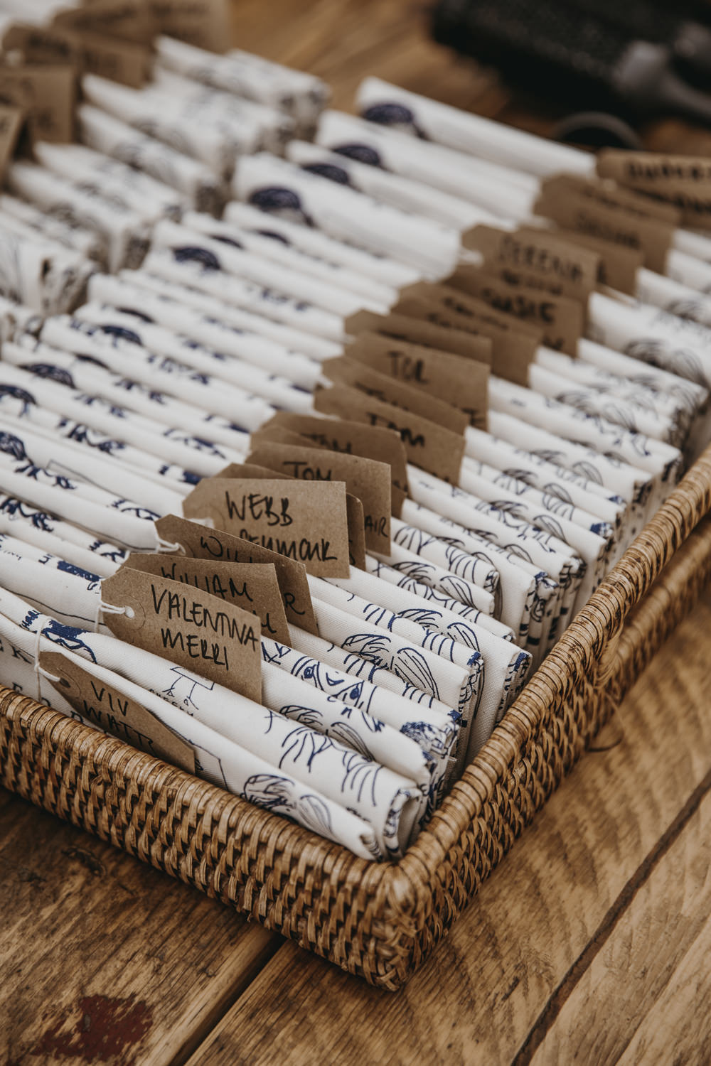Tea Towel Favours Favors Kent Marquee Wedding Lily Bungay and Co
