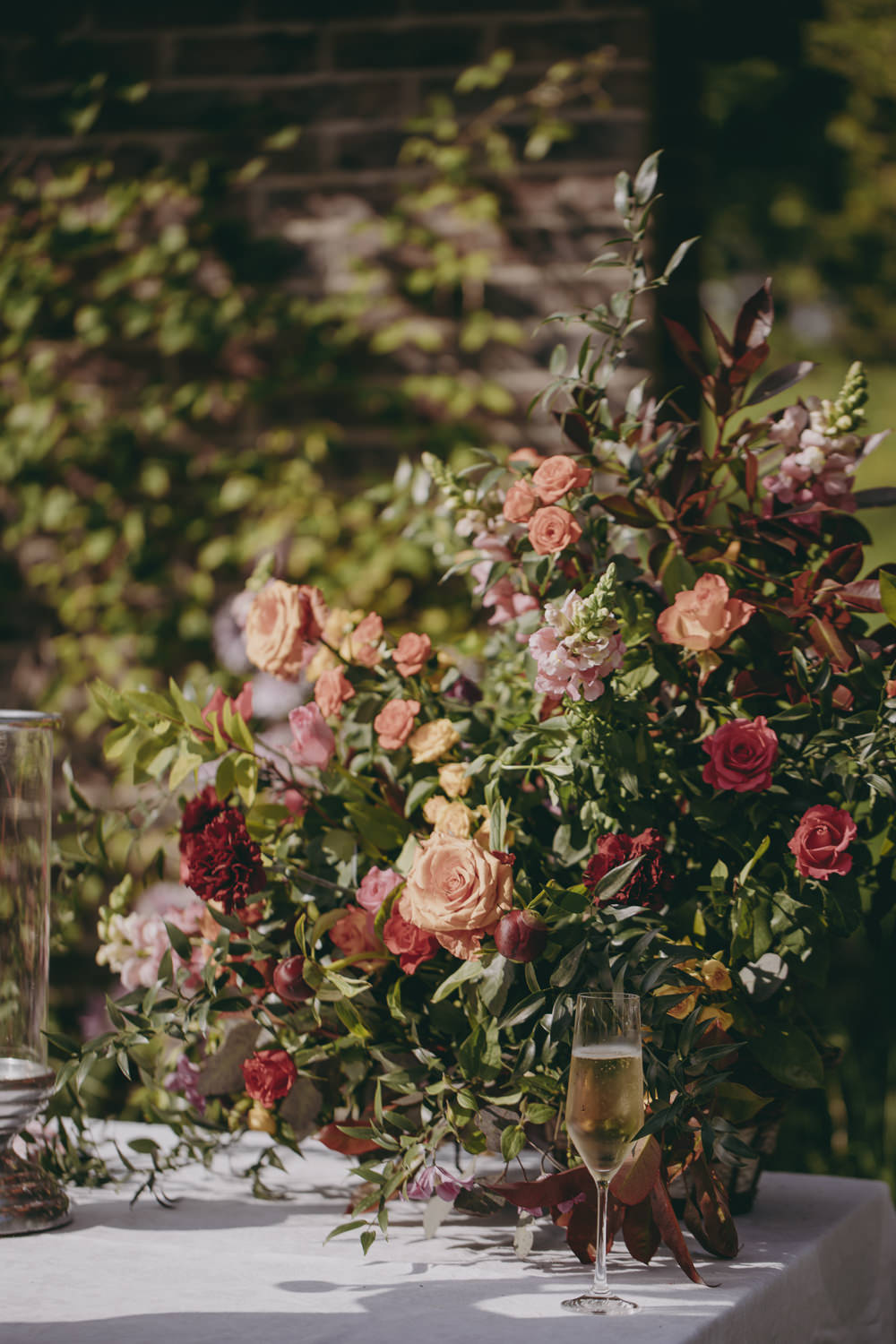 Flowers Coral Peony Rose Astilbe Plum Greenery Kent Marquee Wedding Lily Bungay and Co