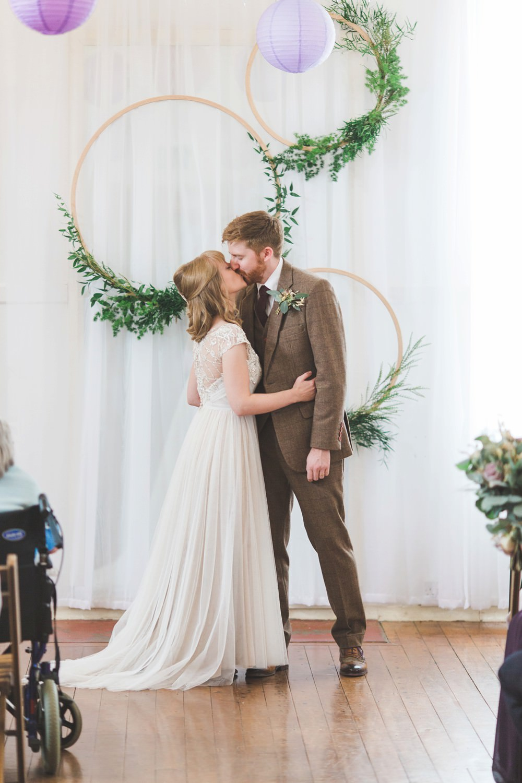 Hoop Backdrop Greenery Foliage Ceremony Aisle Letchworth Wedding Milkbottle Photography