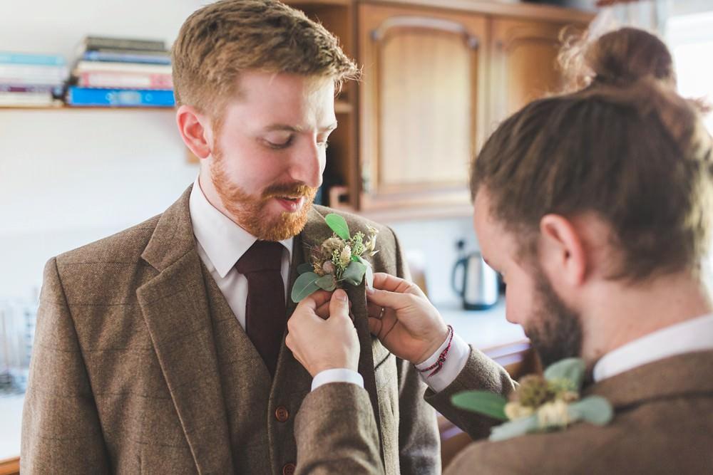 Groom Suit Brown Tweed Burgundy Tie Buttonhole Flowers Letchworth Wedding Milkbottle Photography