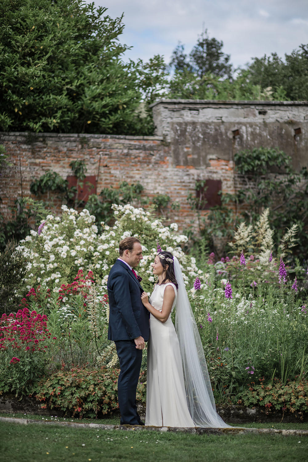 Bride Bridal Boat Neck Cut Out Dress Gown Flower Floral Crown Veil Navy Suit Groom Marquee Castle Wedding Rachael Fraser Photography