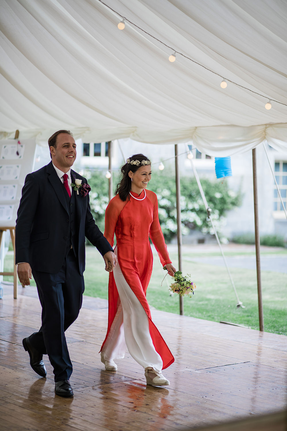 Vietnamese Ao Dai Marquee Castle Wedding Rachael Fraser Photography