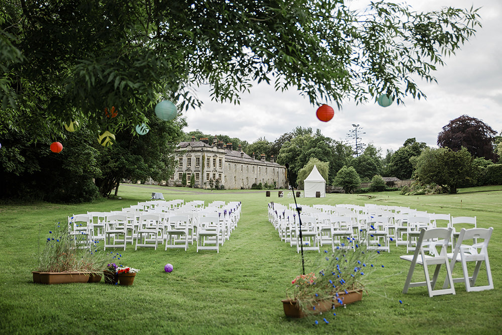 Outdoor Ceremony Colourful Paper Lanterns Marquee Castle Wedding Rachael Fraser Photography