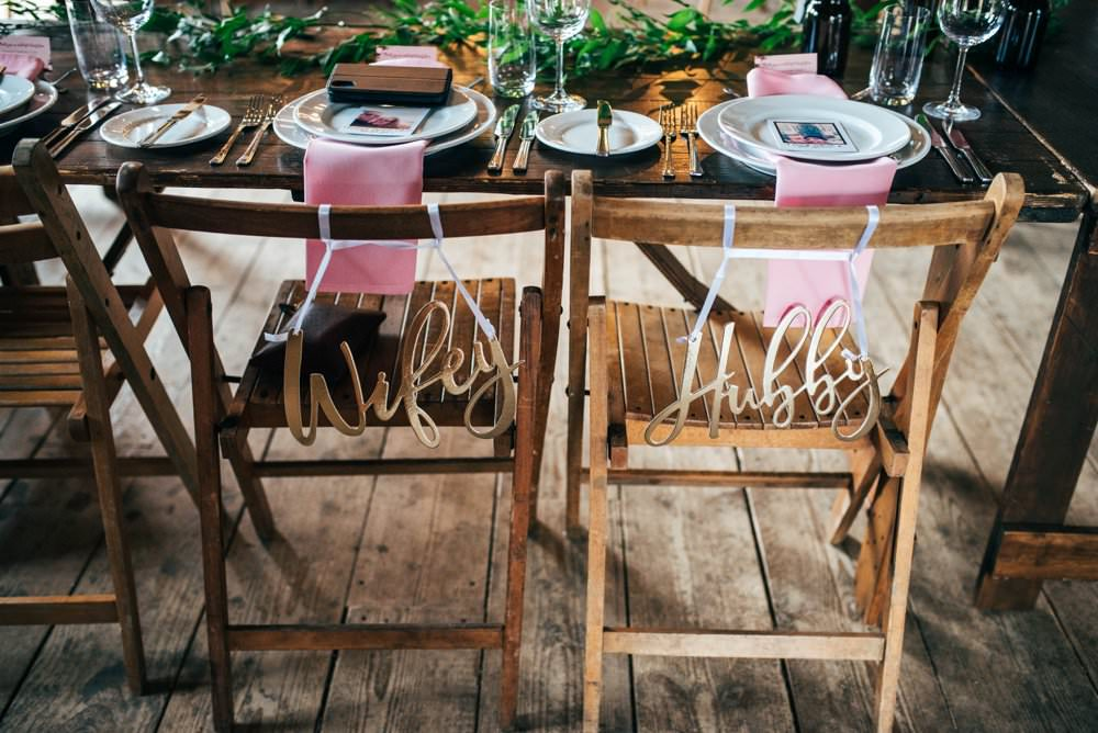 Mr Mrs Laser Cut Chair Signs Pink Red Wedding Three Flowers Photography
