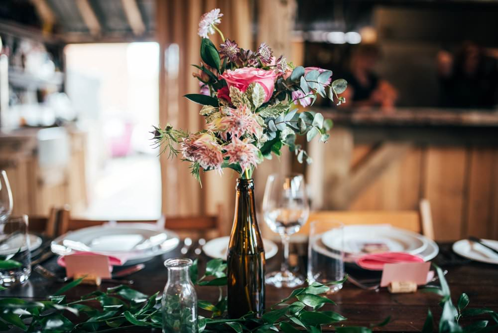 Bottle Flowers Table Centrepice Pink Red Wedding Three Flowers Photography