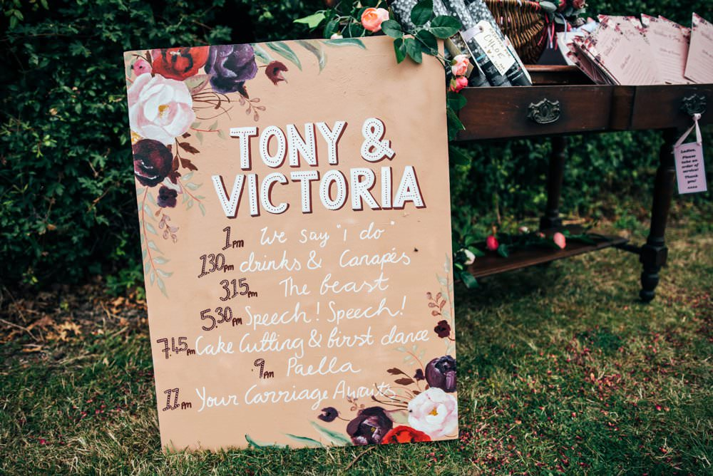 Floral Painted Modern Sign Signs Signage Pink Red Wedding Three Flowers Photography