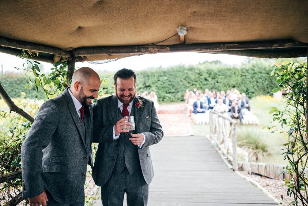 Groom Suit Tweed Grey Tie Pink Red Wedding Three Flowers Photography
