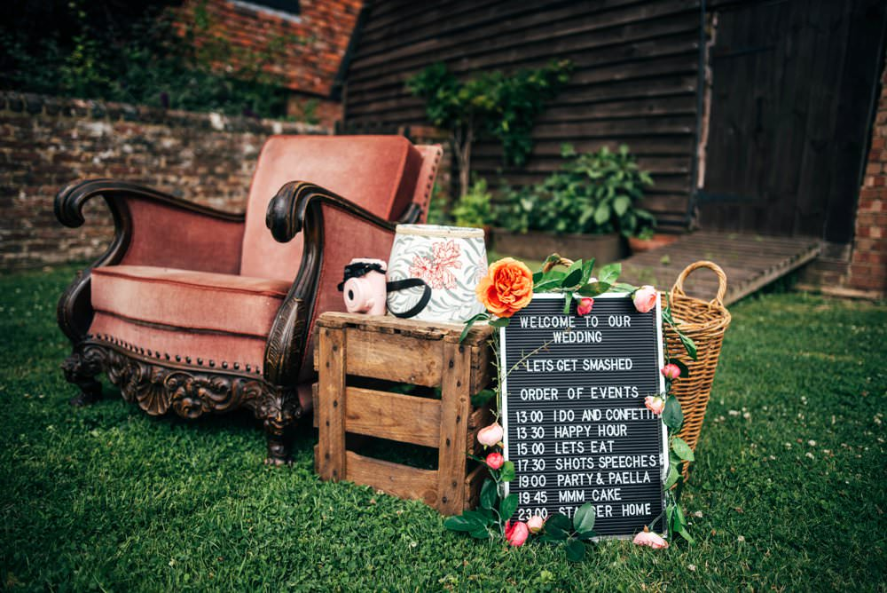 Peg Board Sign Signage Signs Order of the Day Pink Red Wedding Three Flowers Photography