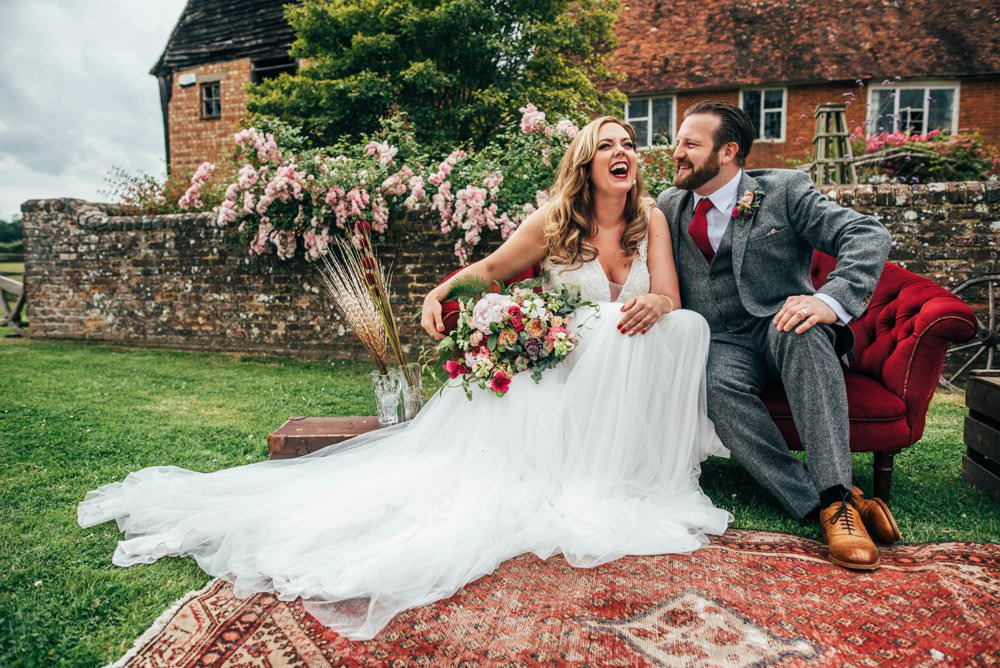 Pink & Red Boho Rustic Barn Wedding