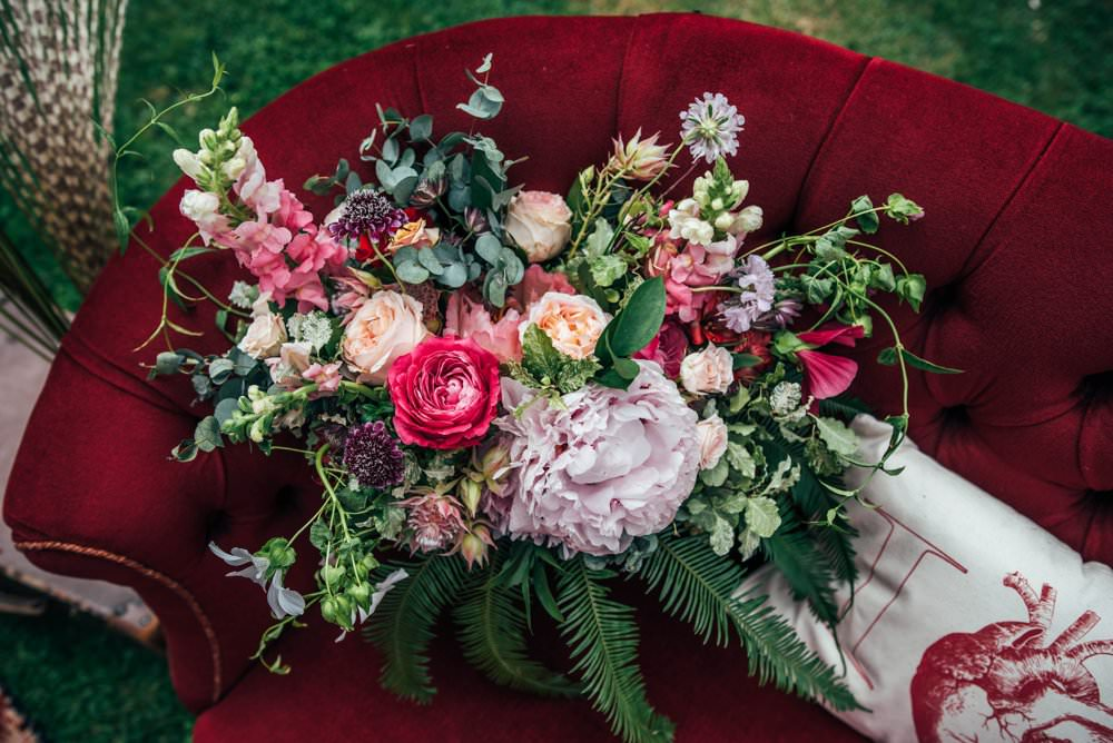 Bouquet Flowers Bride Bridal Peony Fern Eucalyptus Pink Red Wedding Three Flowers Photography