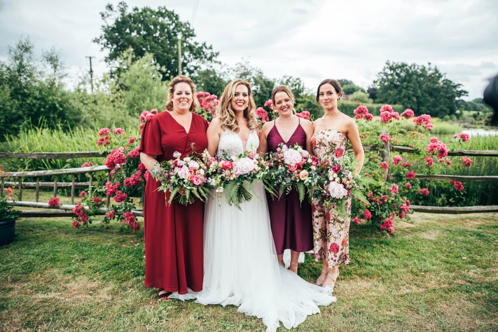 Bridesmaids Bridesmaid Dress Dresses Mismatched Mix Match Pink Red Wedding Three Flowers Photography