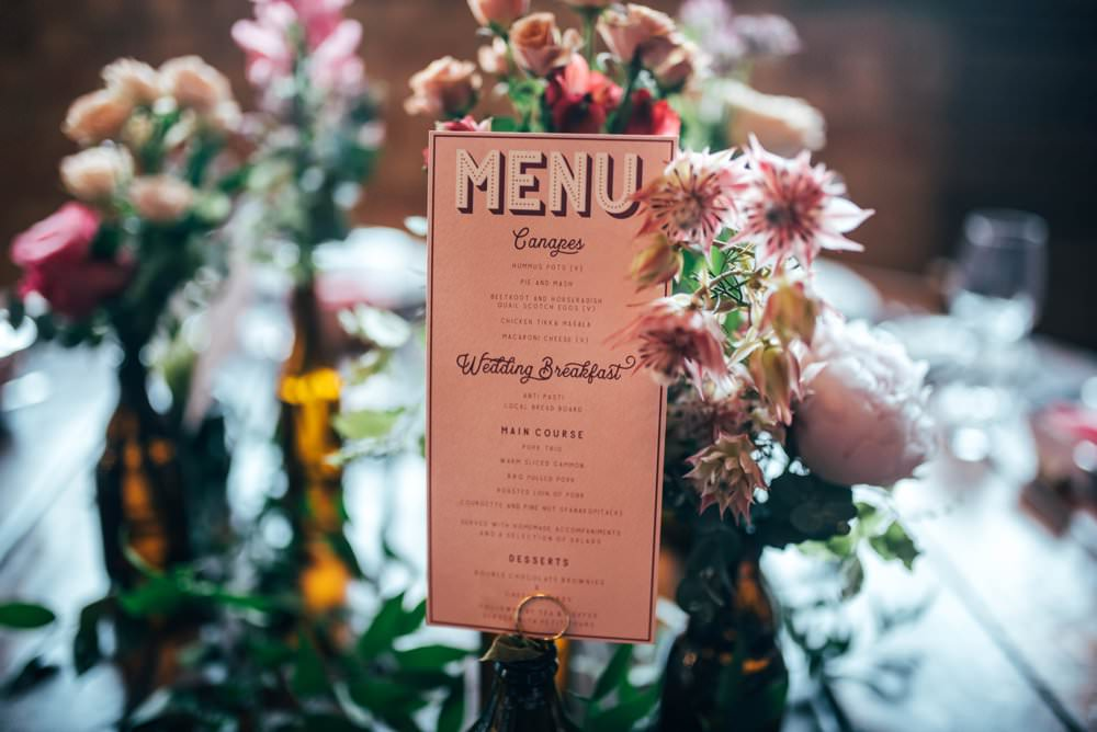 Menu Stationery Pink Red Wedding Three Flowers Photography