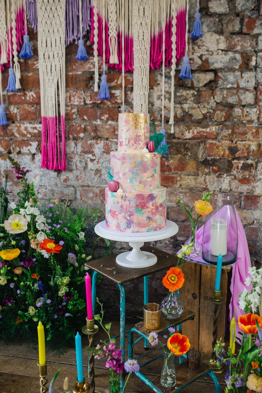 Cake Table Meadow Flowers Macrame Backdrop Candles Playful Cool Wedding Ideas Sophie Lake Photography