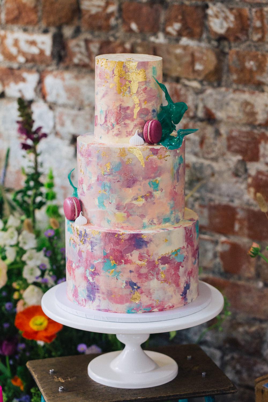 Watercolour Painted Cake Macaron Pink Yellow Pastel Playful Cool Wedding Ideas Sophie Lake Photography