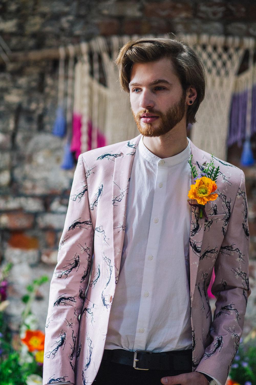 Groom Suit Jacket Pink Print Playful Cool Wedding Ideas Sophie Lake Photography