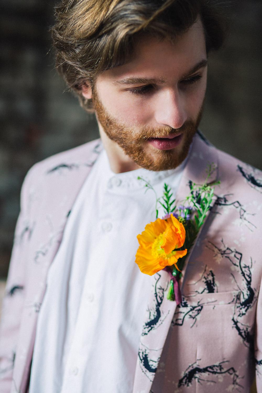 Groom Buttonhole Orange Poppy Playful Cool Wedding Ideas Sophie Lake Photography