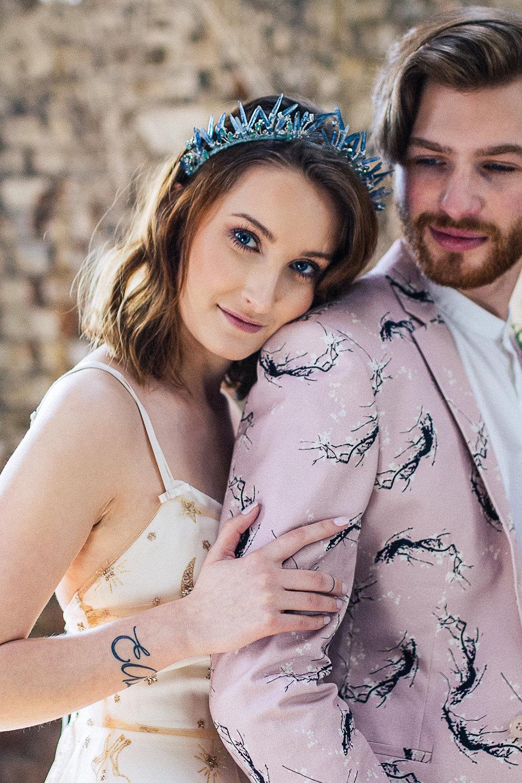Bride Bridal Make Up Crystal Headdress Tiara Crown Playful Cool Wedding Ideas Sophie Lake Photography