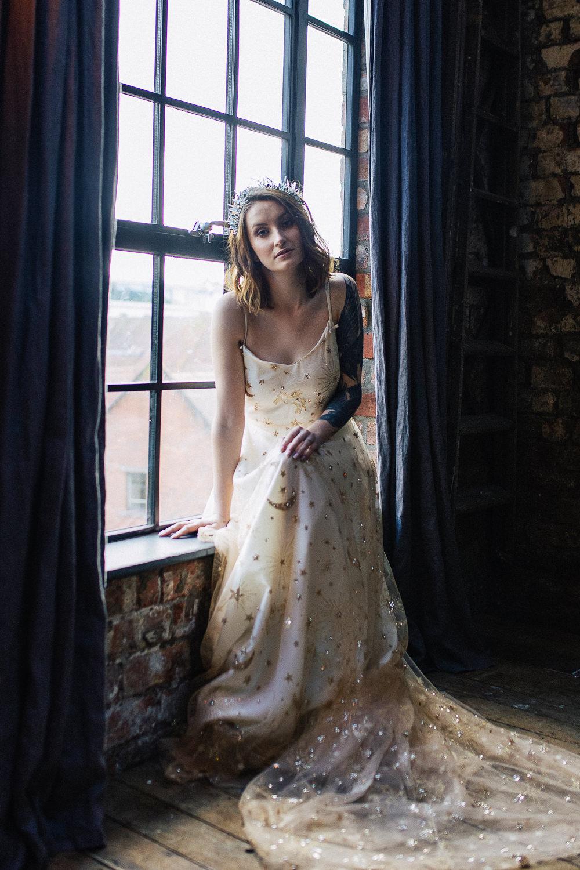 Bride Bridal Dress Gown Moon Stars Celestial Gold Unicorn Playful Cool Wedding Ideas Sophie Lake Photography