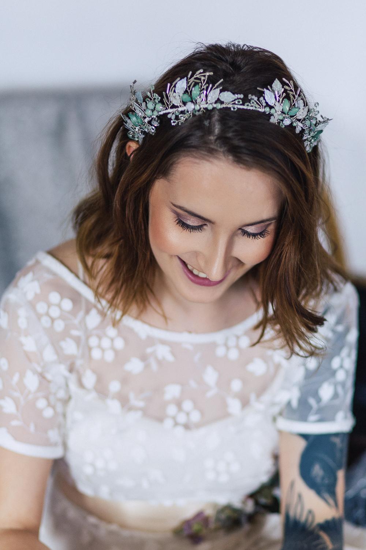 Bride Bridal Make Up Floral Headdress Tiara Crown Playful Cool Wedding Ideas Sophie Lake Photography