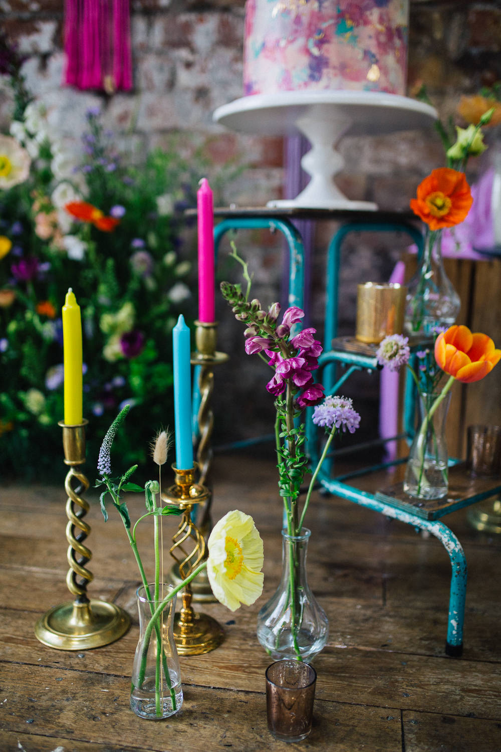 Neon Bright Candles Colourful Playful Cool Wedding Ideas Sophie Lake Photography