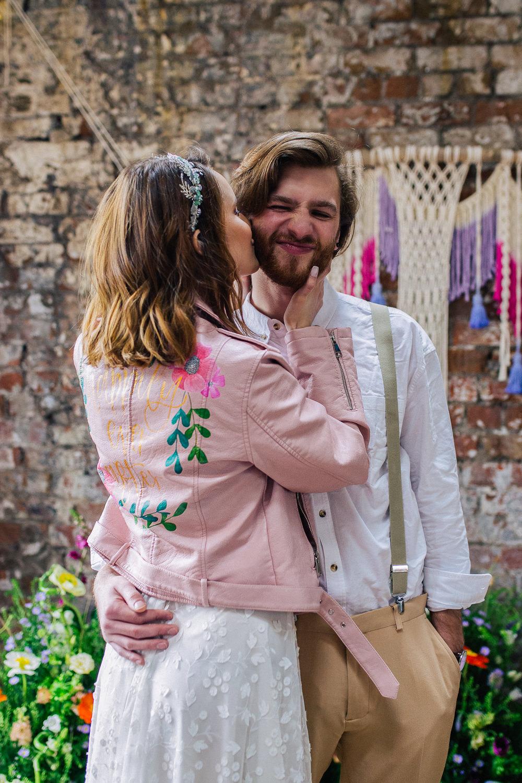 Bride Bridal Leather Jacket Pink Paintet Personalised Playful Cool Wedding Ideas Sophie Lake Photography