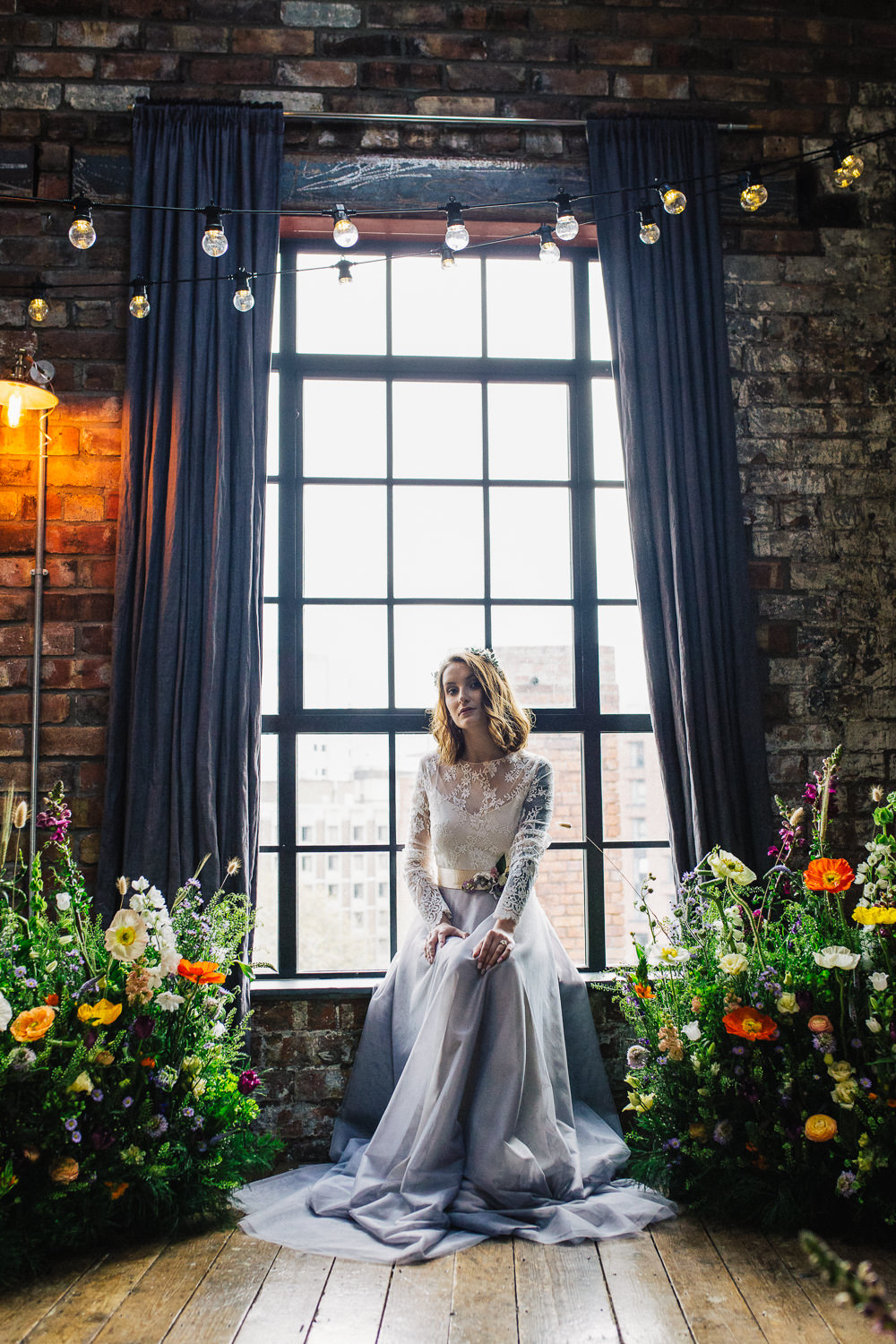Bride Bridal Dress Gown Embroidery Leaves Berries Sleeves Meadow Flowers Meadowscape Arrangement Wild Colourful Poppy Poppies Playful Cool Wedding Ideas Sophie Lake Photography