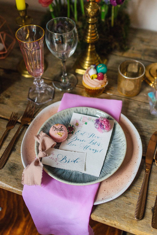 Place Setting Decor Plates Napkin Cupcake Macaron Pink Playful Cool Wedding Ideas Sophie Lake Photography