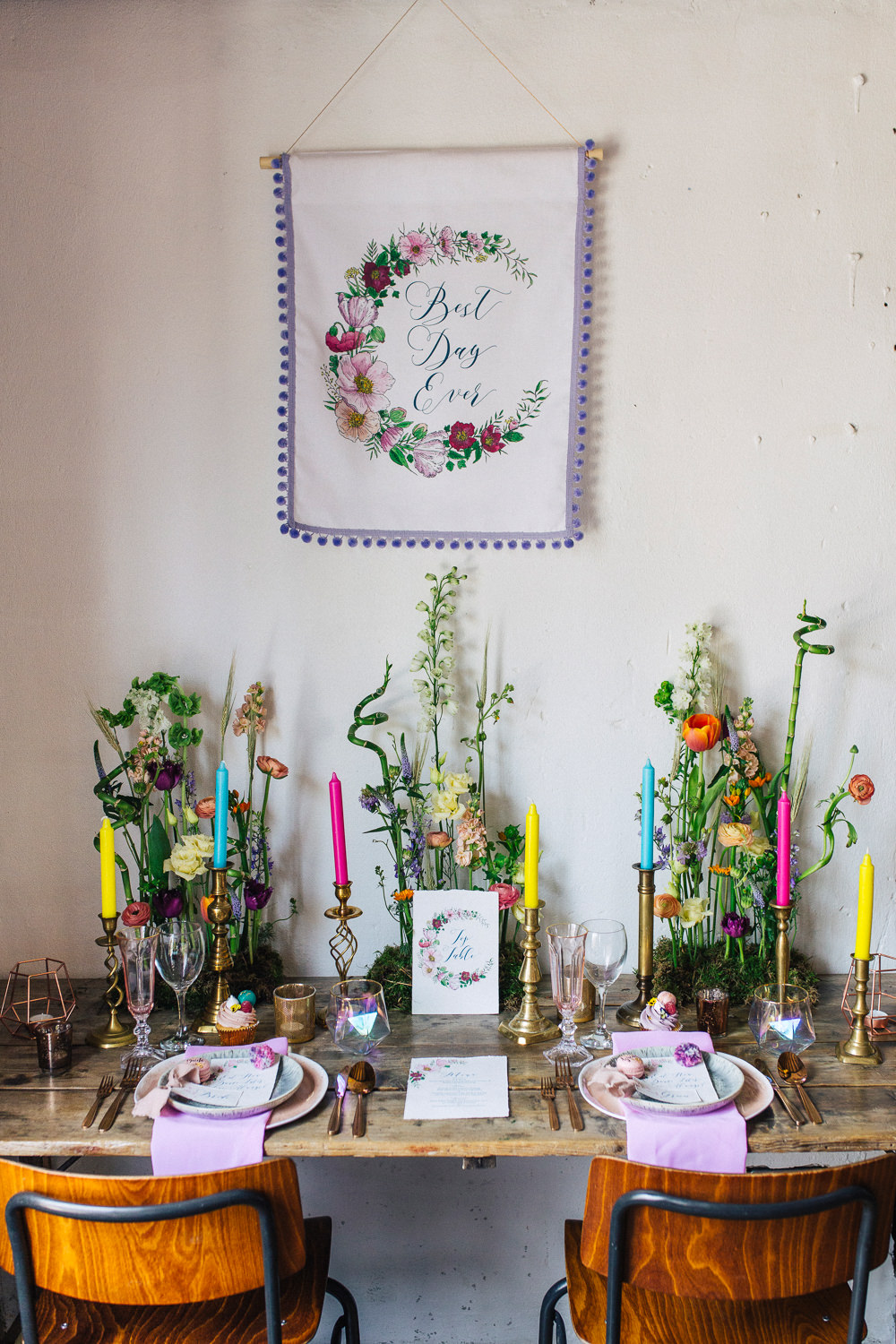 Table Tablescape Decor Candles Meadow Fowers Banner Backdrop Playful Cool Wedding Ideas Sophie Lake Photography